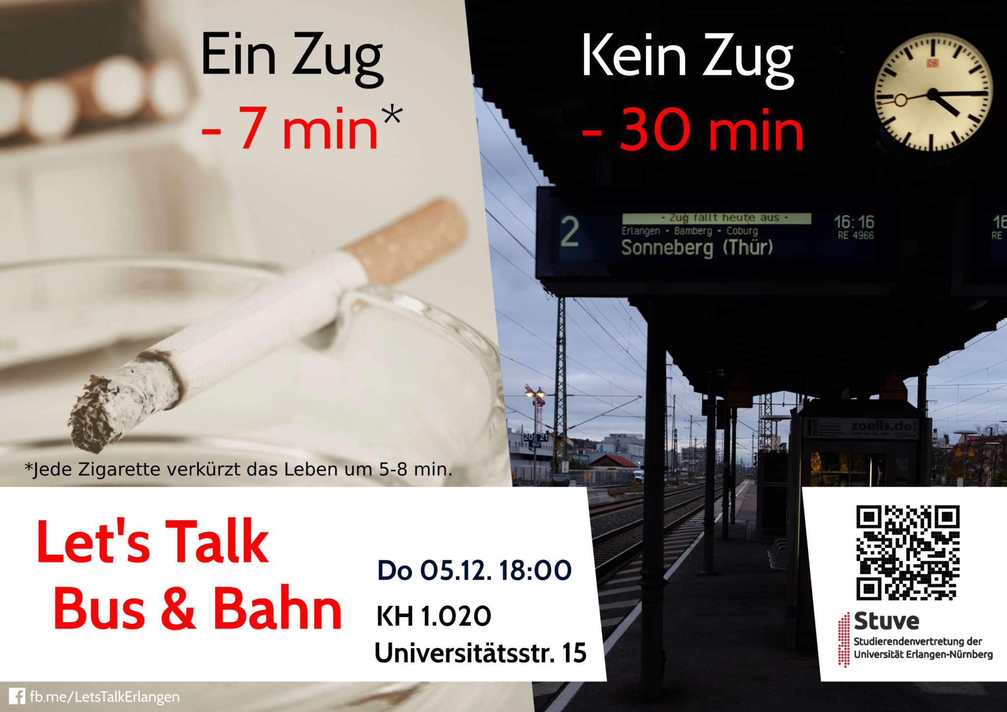 Let's Talk Bus & Bahn. Do 05.12. 18:00. KH 1.020 Universitätsstr 15